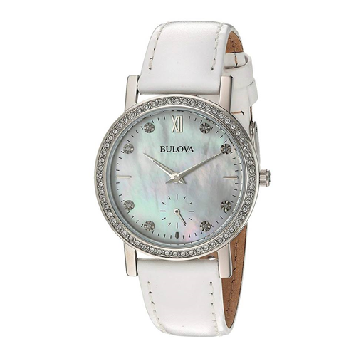 Bulova Crystal Ladies Mother of Pearl Leather 96L245