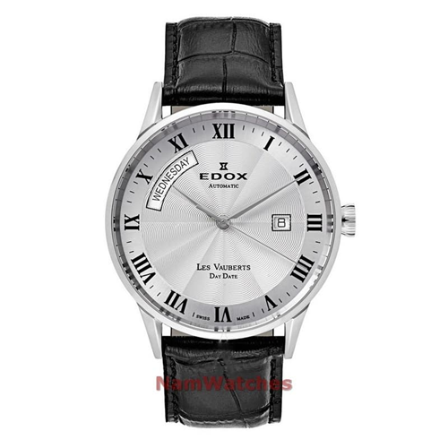 Edox Day Date 2018 White Leather 83007-3-AR