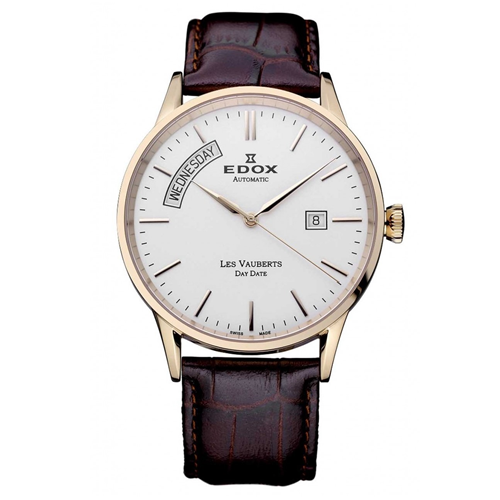 Edox Day Date Size 40 Rose Gold Leather 83007-37R-AIR