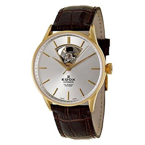 Edox Open Heart Gold Leather 85010-37J-AID