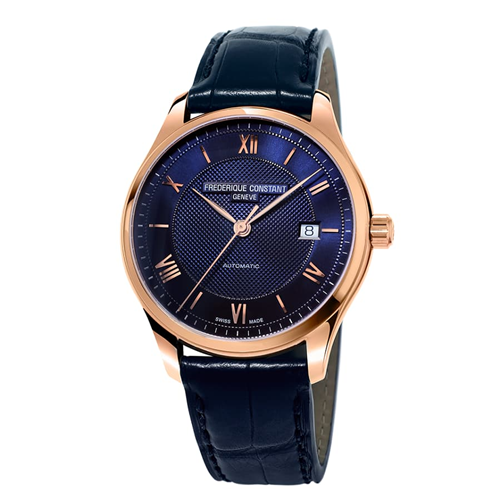 FC Classic Index Automatic Blue Rose Gold Leather FC-303MN5B4