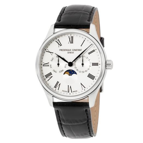 FC Quartz Day Date Moonphase Silver Leather FC-260WR5B6