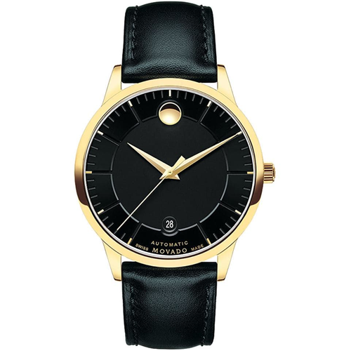 Movado 1881 Automatic Black Gold Leather 0606875