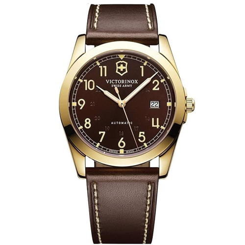 Victorinox Infantry Automatic Gold Brown Leather V241646